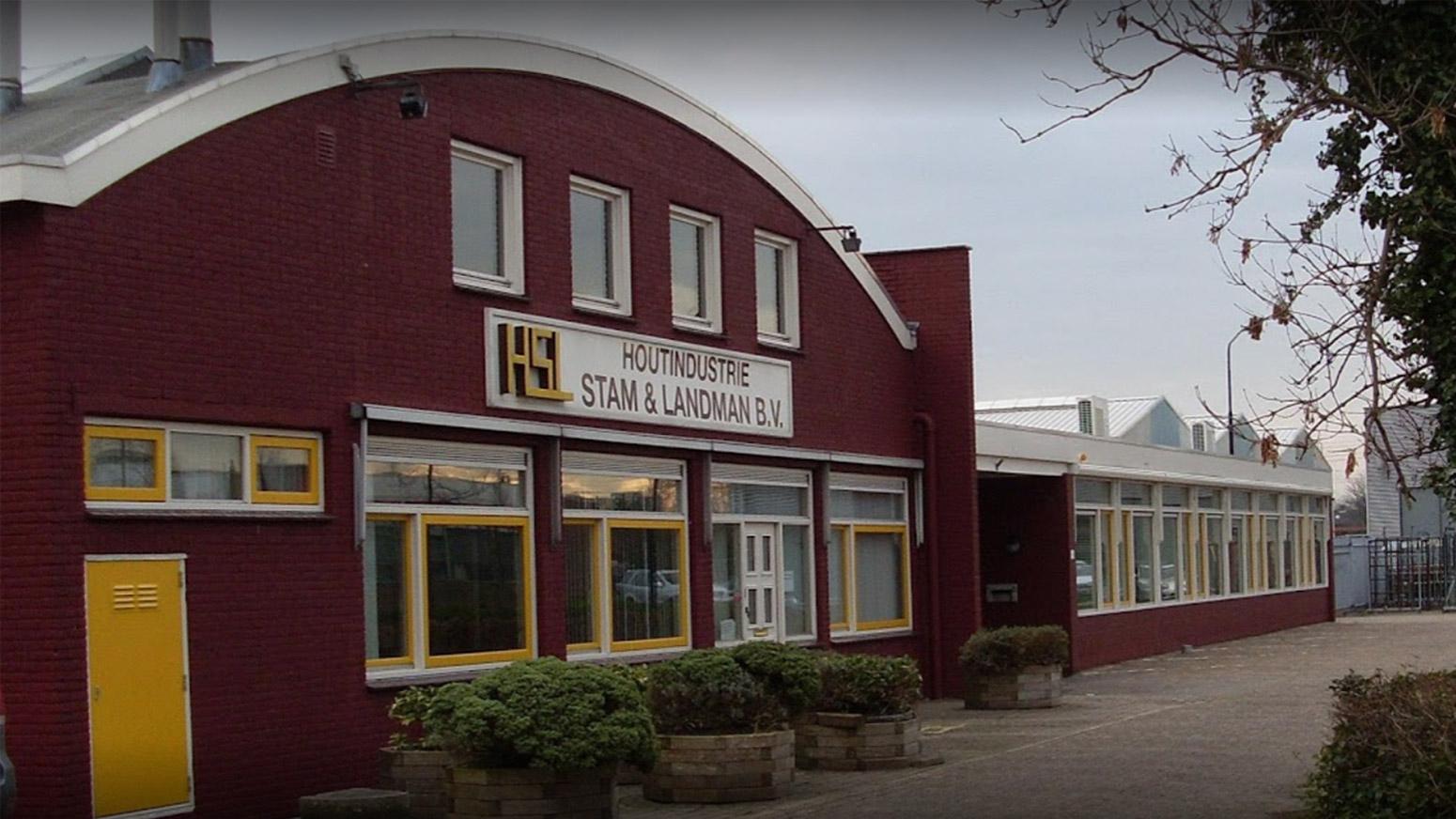 Voorzijde bedrijfspand Houtindustrie Stam & Landman BV. Heerhugowaard