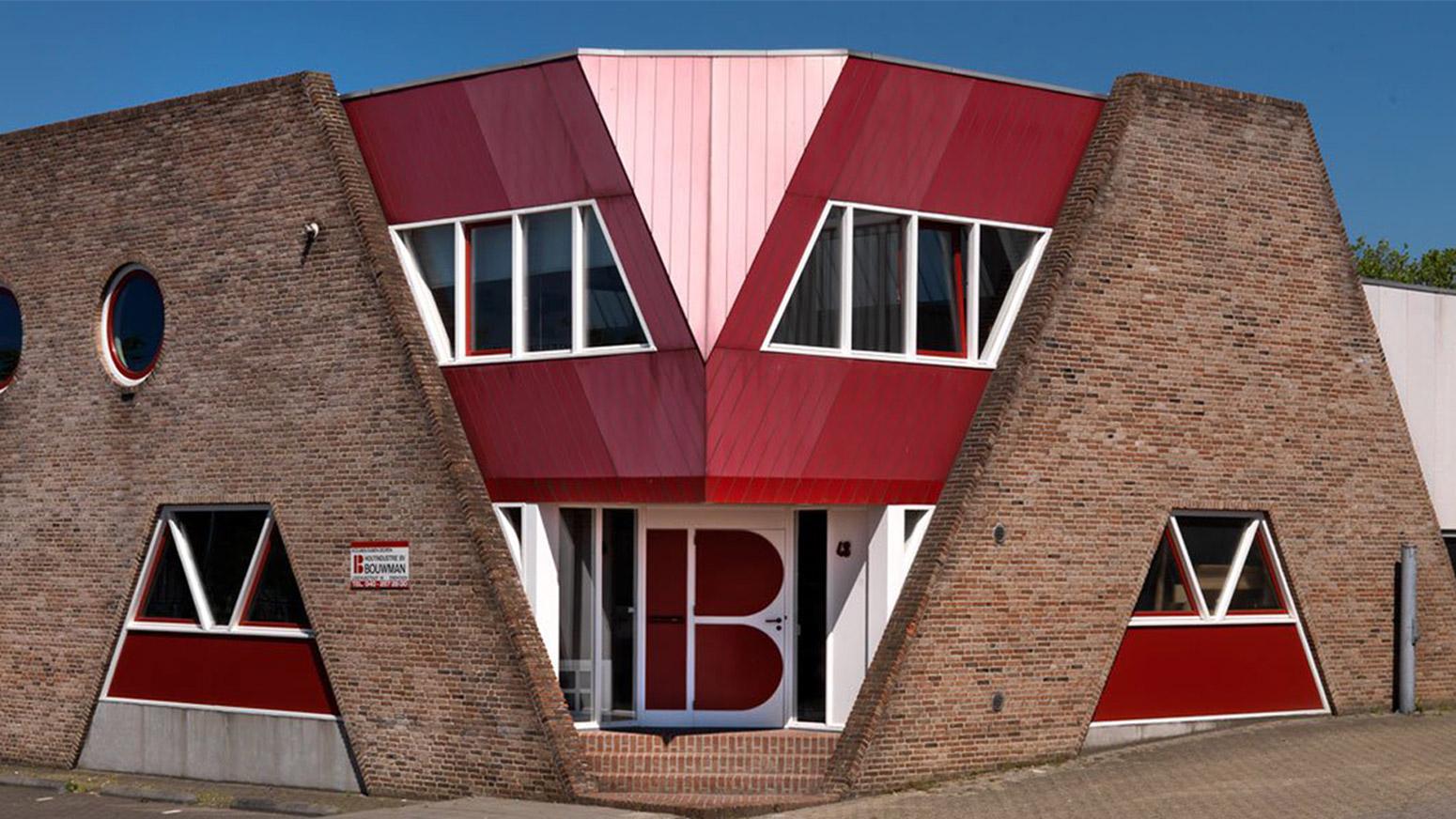 Voorzijde kantoor Houtindustrie Bouwman in Eindhoven