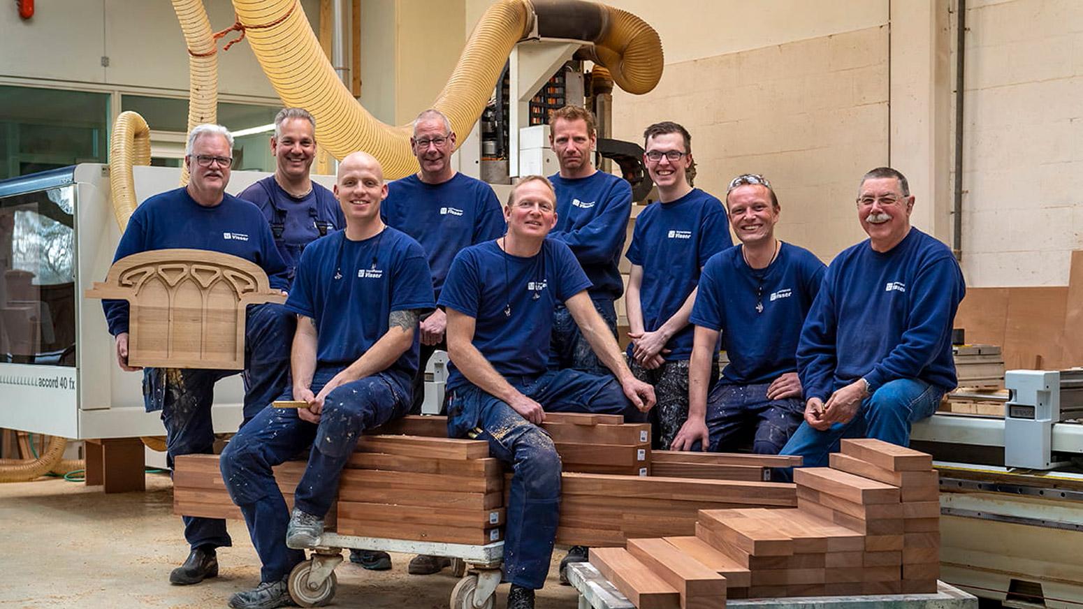 Foto van medewerkers Timmerfabriek Visser