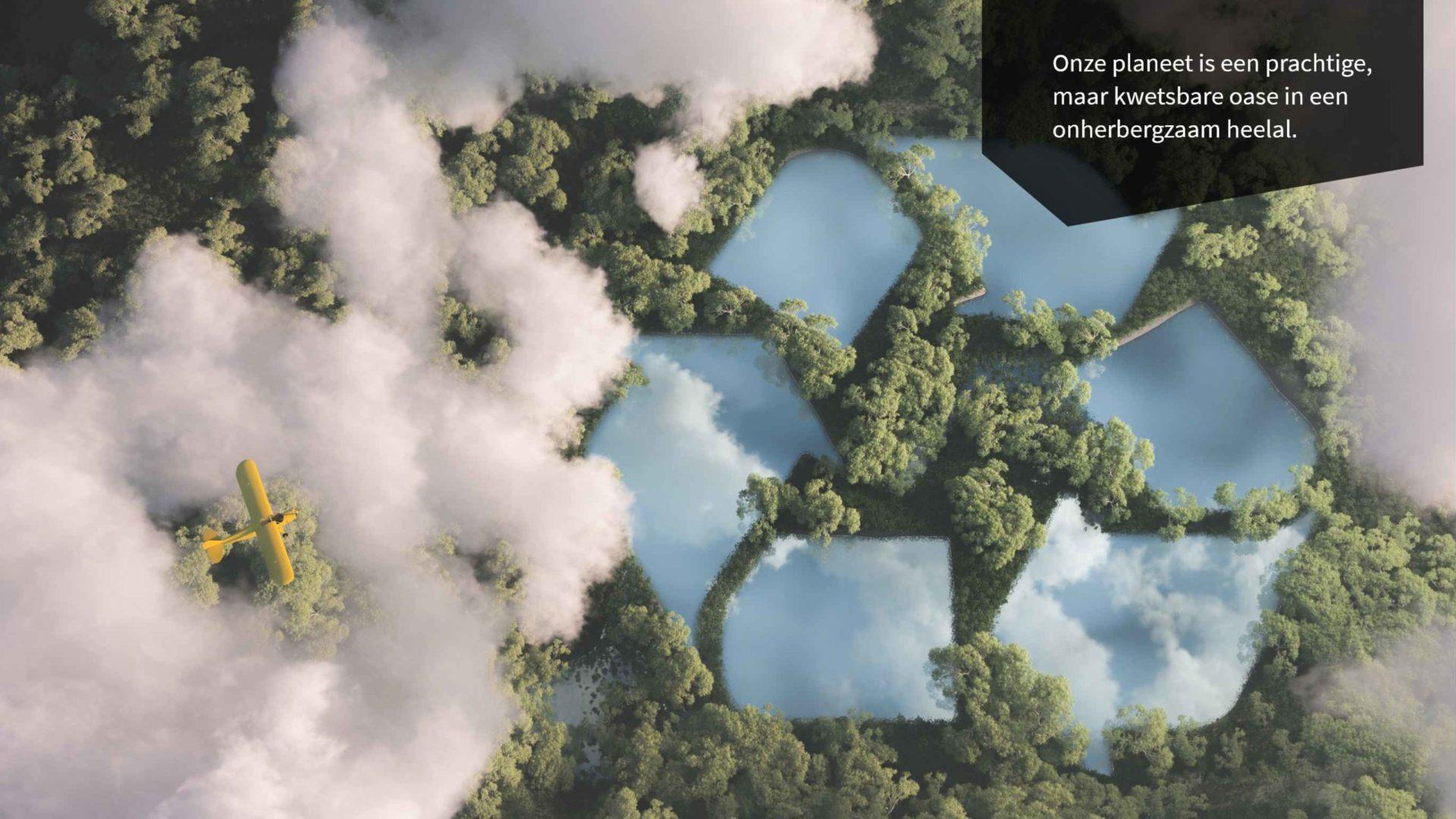 De aarde van bovenaf met bos en recycle logo